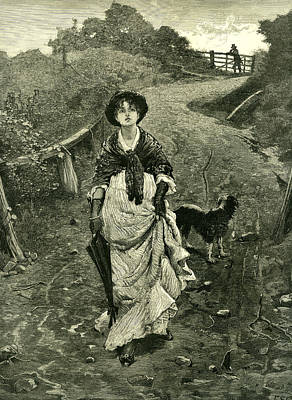 A Tiff 1878 Outdoors Nature Walk Woman Dog Fence Man Poster by English School