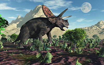 A Torosaurus Dinosaur During Earths Poster by Mark Stevenson