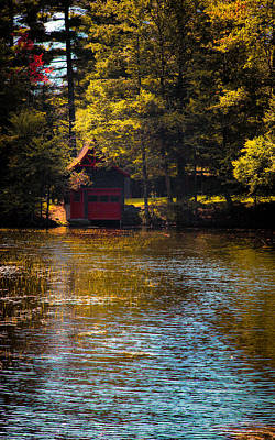 A Touch Of Autumn At The Red Boathouse Poster