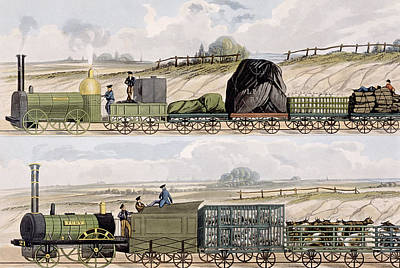 A Train Of Wagons And A Train Poster by Isaac Shaw
