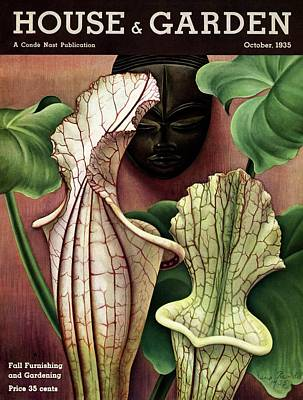 A Tropical Flower And An African Mask Poster by Edna Reindel