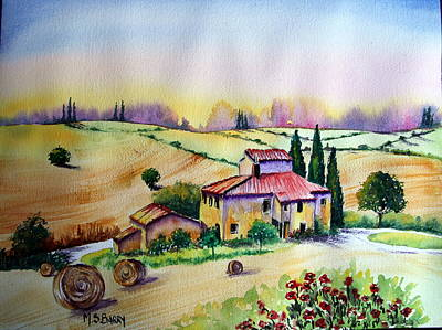 Poster featuring the painting A Tuscann Farmhouse by Maria Barry