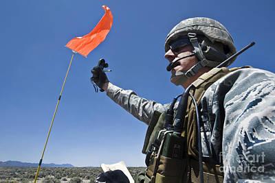 A U.s. Air Force Member Uses Poster