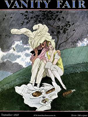 A Vanity Fair Cover Of A Couple Picnicking Poster by Pierre Brissaud