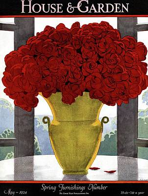 A Vase With Red Roses Poster by Andre E.  Marty