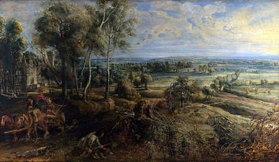 A View Of Het Steen In The Early Morning Poster by Peter Paul Rubens