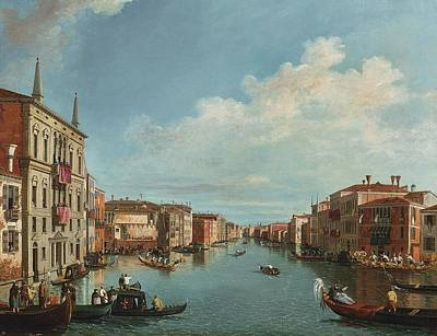A View Of The Grand Canal With A Regatta Poster by Celestial Images