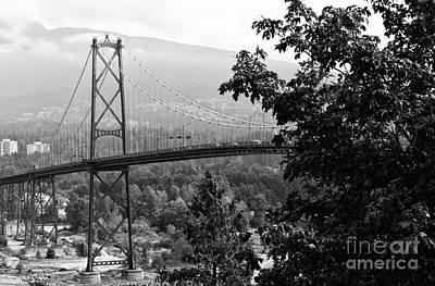A View Of The Lions Gate Bridge Mono Poster by John Rizzuto
