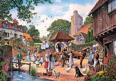 A Village Wedding Poster by Steve Crisp