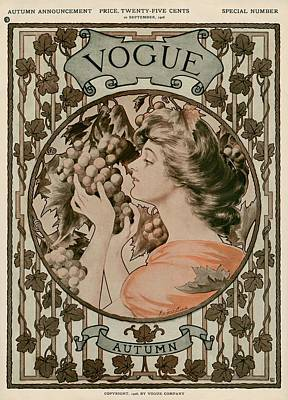A Vintage Vogue Magazine Cover Of A Woman Poster by Hugh Stuart Campbell