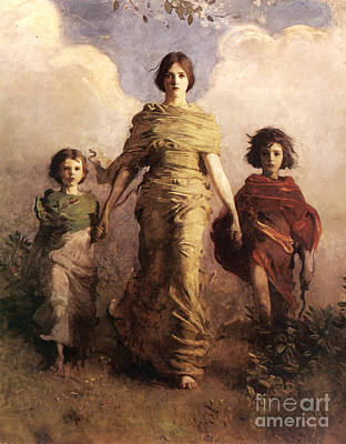 A Virgin  - Winged Victory Of Samothrace Poster by Abbott Handerson Thayer
