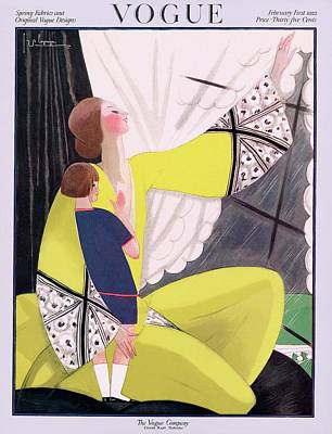 A Vogue Cover Of A Mother And Daughter Poster by Georges Lepape