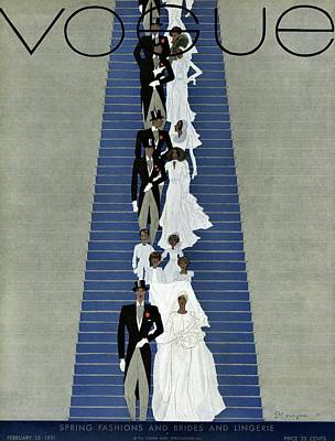 A Vogue Cover Of A Wedding Party Poster by Pierre Mourgue