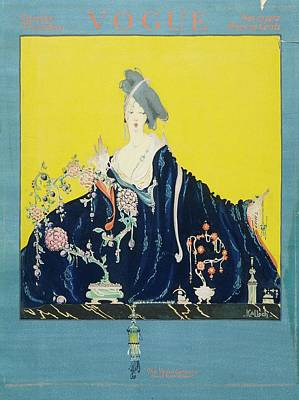 A Vogue Cover Of A Woman At A Dressing Table Poster by Robert Kalloch