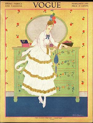 A Vogue Cover Of A Woman By A Chest Of Drawers Poster by Helen Dryden