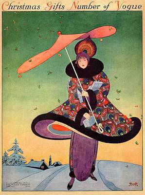 A Vogue Cover Of A Woman Holding An Umbrella Poster