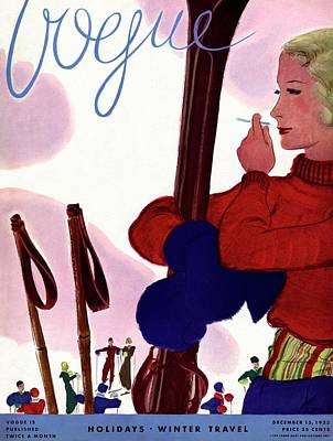 A Vogue Cover Of A Woman Holding Skis Smoking Poster by Jean Pages