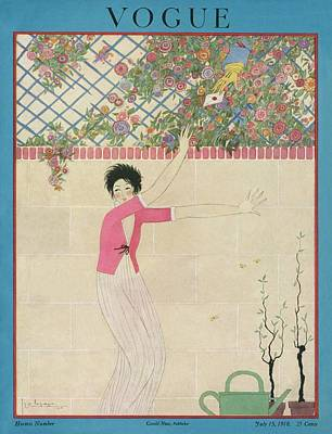 A Vogue Cover Of A Woman Receiving A Letter Poster by Georges Lepape