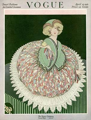 A Vogue Cover Of A Woman Wearing A Floral Skirt Poster by George Wolfe Plank