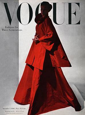 A Vogue Cover Of A Woman Wearing A Red Poster by Horst P. Horst