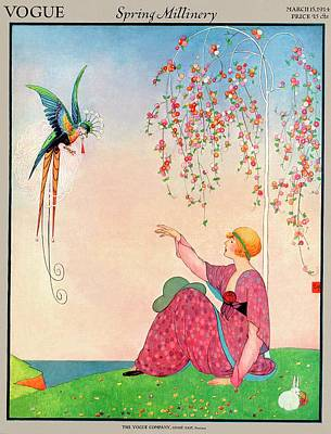 A Vogue Cover Of A Woman With A Bird Poster