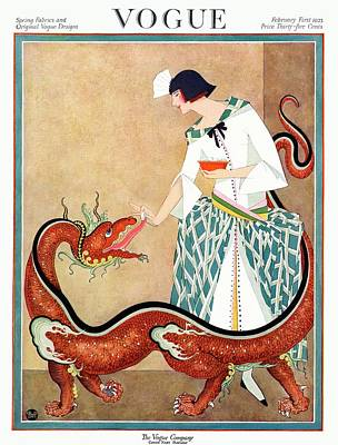 A Vogue Cover Of A Woman With A Chinese Dragon Poster by George Wolfe Plank