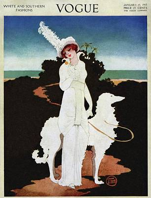A Vogue Cover Of A Woman With A Wolfhound Poster by Mrs. Newell Tilton