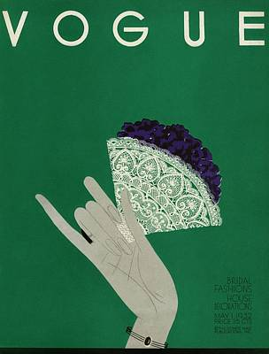 A Vogue Cover Of A Woman's Hand Holding Flowers Poster by Eduardo Garcia Benito