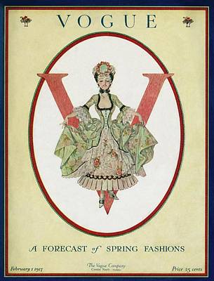 A Vogue Cover Of An 18th Century Shepherdess Poster by Frank X. Leyendecker