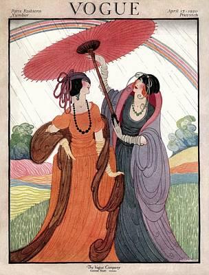 A Vogue Cover Of Women Under An Umbrella Poster by Helen Dryden