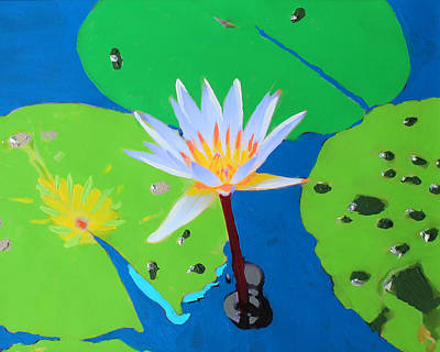 Poster featuring the mixed media A Water Lily In Its Pad by Deborah Boyd