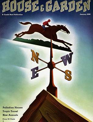A Weathervane With A Racehorse Poster by Joseph Binder