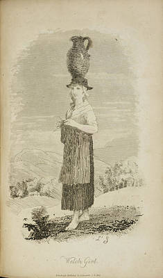 A Welsh Girl With Jug On Her Head Poster