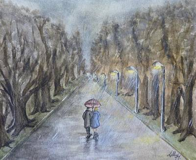 Poster featuring the painting A Wet Evening Stroll by Kelly Mills