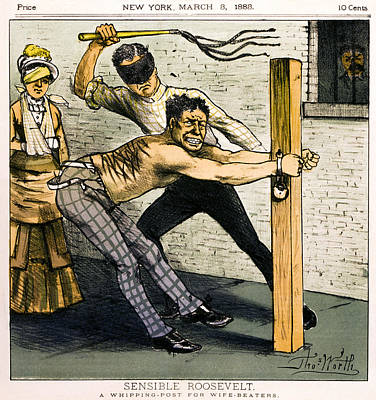 A Whipping Post For Wife Beaters   1883 Poster by Daniel Hagerman