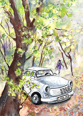 A White Trabant In Budapest Poster by Miki De Goodaboom