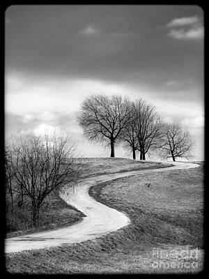 A Winding Country Road In Black And White Poster