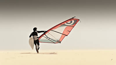 A Windsurfer Runs On The Sand Of Punta Poster
