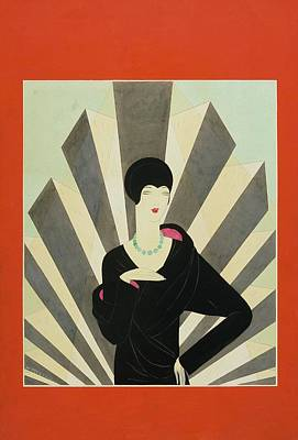 A Woman Against A Geometric Background Poster by Harriet Meserole