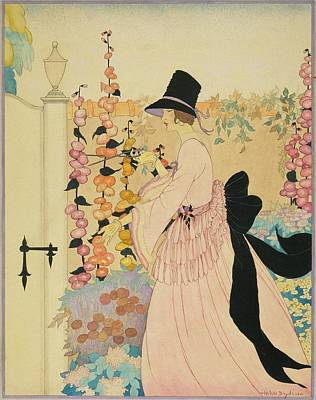 A Woman Cutting Flowers In A Garden Poster by Helen Dryden