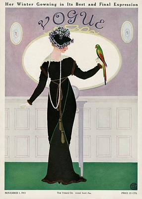 A Woman Holding A Parakeet Poster by Mrs. Newell Tilton