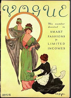 A Woman Modeling And A Maid Assisting Poster by Helen Dryden