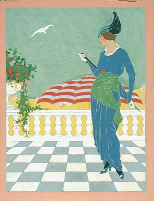 A Woman On A Terrace Poster by Will Hammell