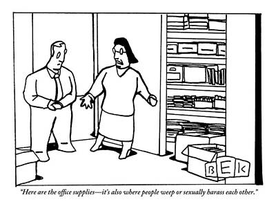 A Woman Opens The Door To A Supply Closet Poster by Bruce Eric Kaplan