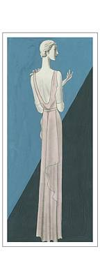 A Woman Wearing A Gown By Mainbocher Poster