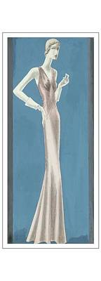 A Woman Wearing A Mainbocher Evening Gown Poster by Eduardo Garcia Benito