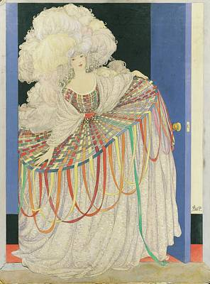 A Woman Wearing A Multicolored Pannier Dress Poster