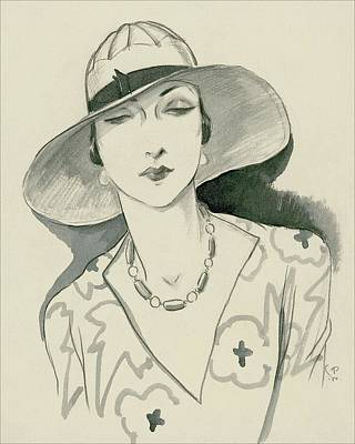 A Woman Wearing A Rose Descat Hat Poster by Porter Woodruff
