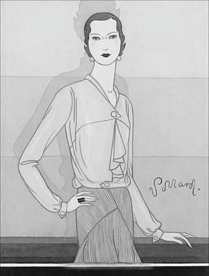 A Woman Wearing A Worth Blouse Poster by Douglas Pollard