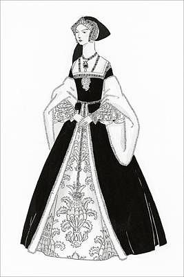 A Woman Wearing Tudor Style Clothing Poster by Claire Avery